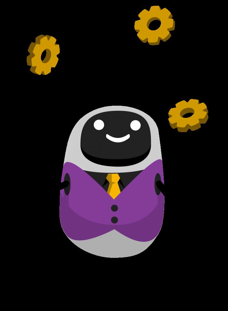A posh looking robot juggling gears.