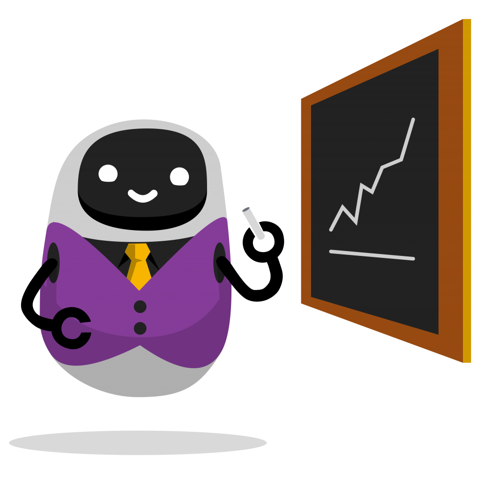 An astute robot gesturing to a chalkboard with a graph on it.