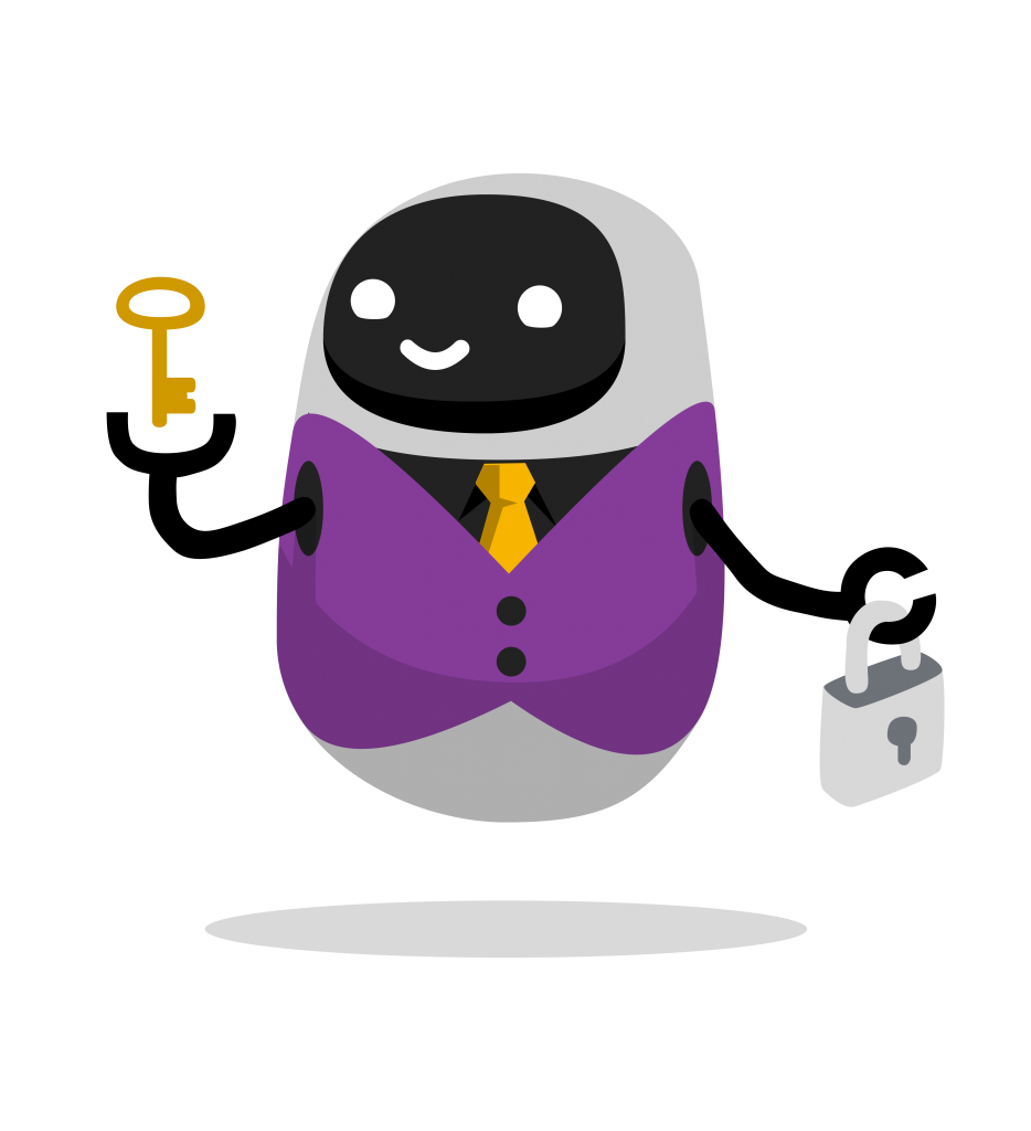 Happy robot with key and lock