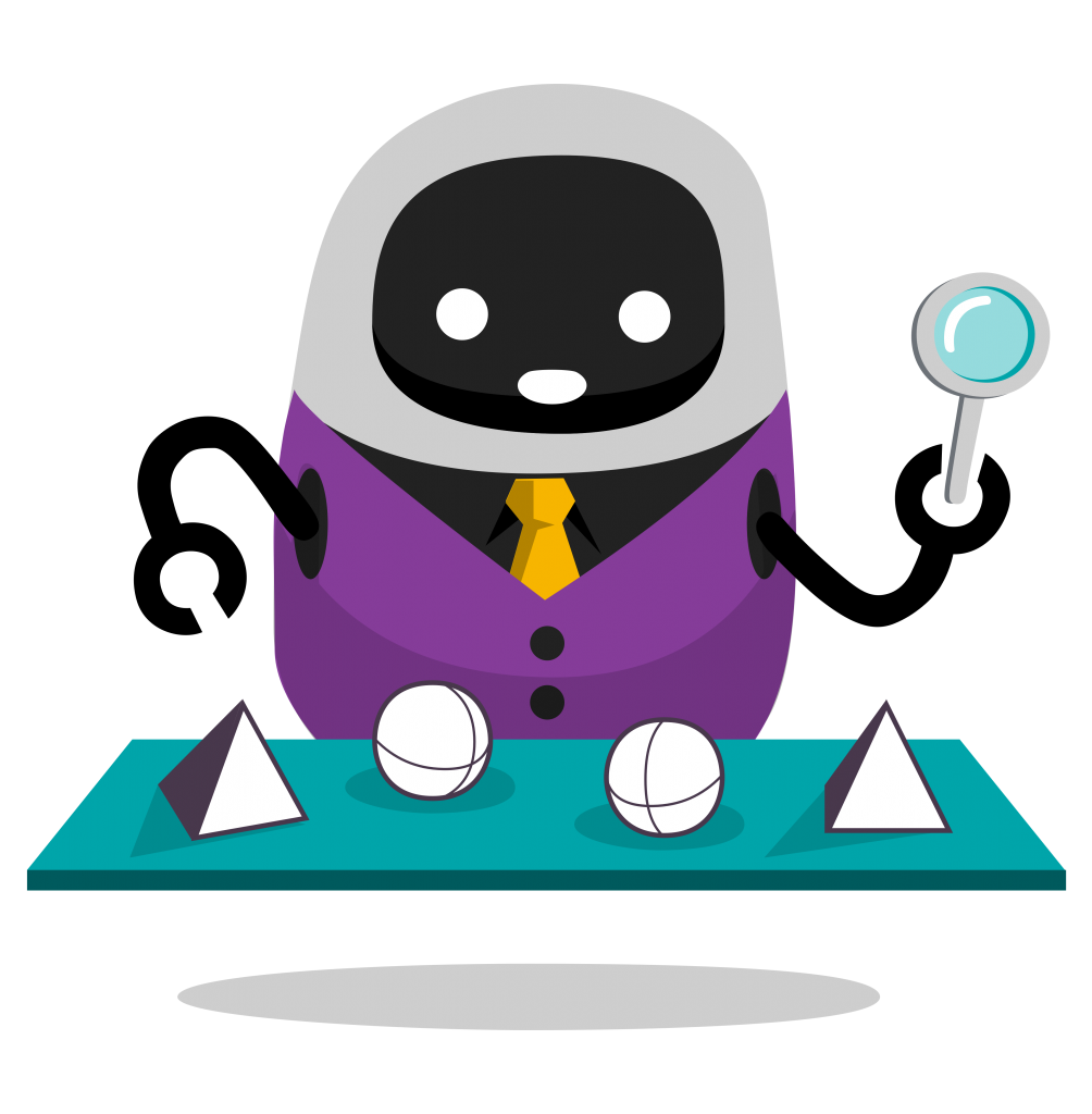 Curious robot checking out items on a conveyor belt